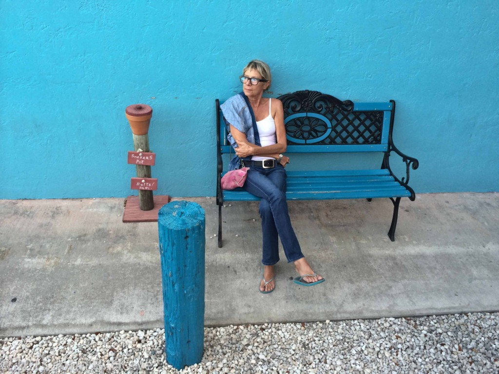 Anne-Marie outside Category 3, Key Largo restaurant